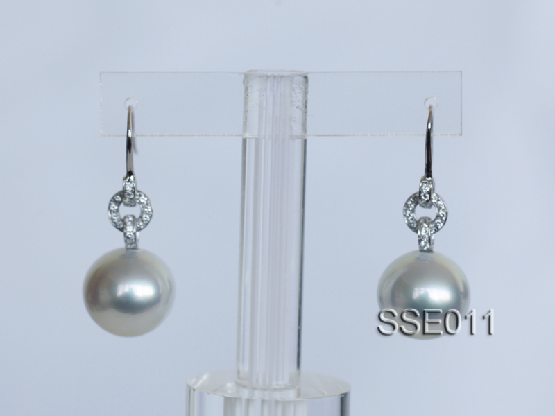 Gorgeous AAA 14.2mm White South Sea Pearl Earring in 14kt White Gold & Diamond