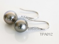 Elegant AAA 11mm Dangle Grey Tahitian Pearl Earring In 14kt White Gold & Diamonds