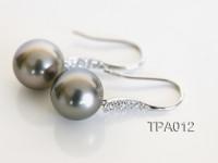Elegant AAA 11mm Dangle Grey Tahitian Pearl Earring In 14kt White Gold & Diamonds