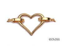 24x40mm Heart-shaped Golden 18K Gold-plated Cupronickel Clasp