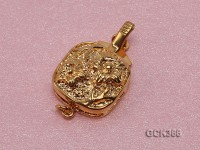 15mm Flower-shaped Golden 18K Gold-plated Cupronickel Clasp