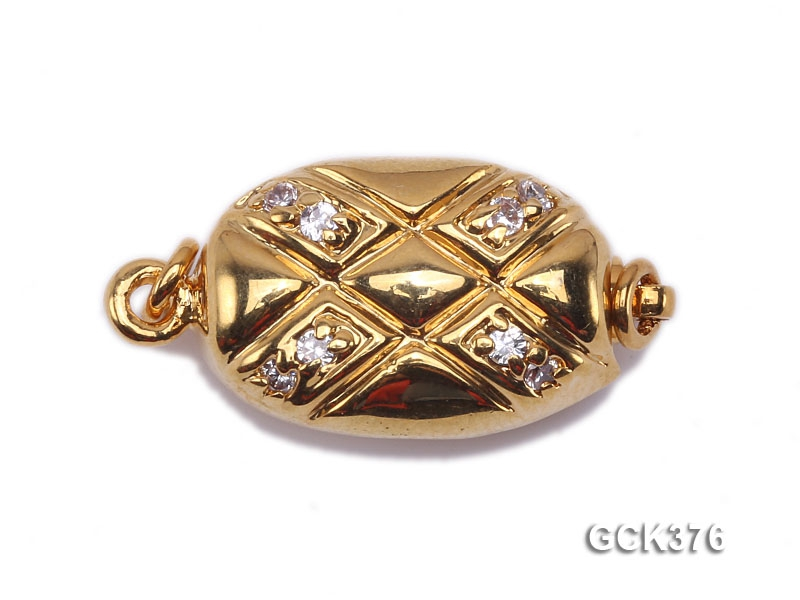 Jewelry Clasp–High Quality Zircon-inlaid 18k Gold Plated Necklace Clasp