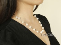 Single-strand 10-11mm White Cultured Freshwater Pearl Necklace with Crystal Beads