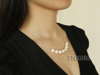 Single-strand 10-11mm White Cultured Freshwater Pearl Necklace with Zircons