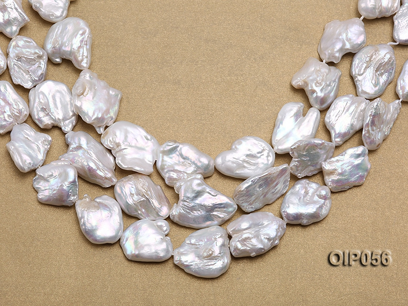 Wholesale 20x30mm White Baroque Pearl String