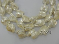 Wholesale Large-size 25x30mm White Baroque Pearl String