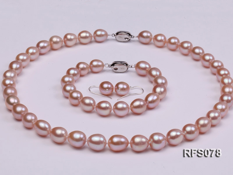 9-10mm Lavender Rice-shaped Freshwater Pearl Necklace, Bracelet and earrings Set