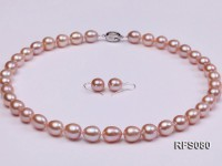 9-10mm Lavender Rice-shaped Freshwater Pearl Necklace and earrings Set