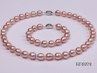 9-10mm Lavender Rice-shaped Freshwater Pearl Necklace and Bracelet Set