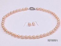 7-8mm Pink Rice-shaped Freshwater Pearl Necklace and earrings Set