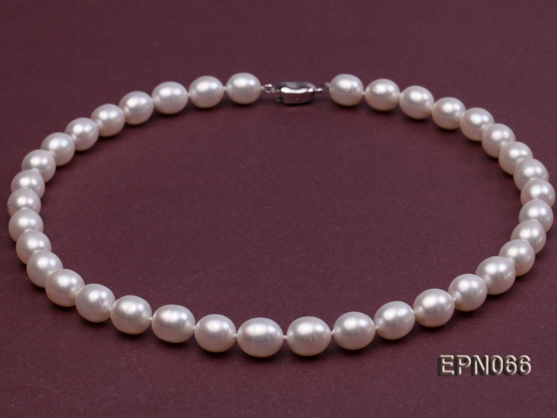 Classic 9-10mm AAA White Oval Cultured Freshwater Pearl Necklace