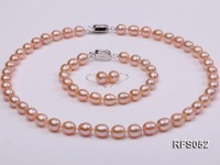 7.5-8mm Pink Rice-shaped Freshwater Pearl Necklace, Bracelet and earrings Set