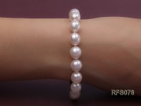 9-10mm White Rice-shaped Freshwater Pearl Necklace and Bracelet Set