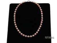 7.5-8mm Pink Rice-shaped Freshwater Pearl Necklace and earrings Set