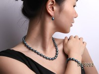 8-9mm Peacock Blue Rice-shaped Freshwater Pearl Necklace, Bracelet and earrings Set