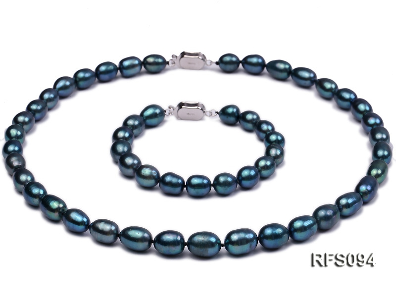 8-9mm Peacock Blue Rice-shaped Freshwater Pearl Necklace and Bracelet Set