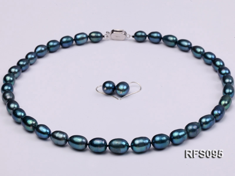 8-9mm Peacock Blue Rice-shaped Freshwater Pearl Necklace and earrings Set