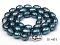 8-9mm Oval Peacock Blue Freshwater Pearl Necklace