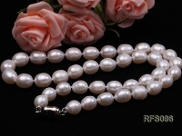 8-9mm White Rice-shaped Freshwater Pearl Necklace, Bracelet and earrings Set