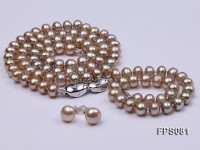 7-8mm AA Champagne Flat Freshwater Pearl Necklace, Bracelet and Stud Earrings Set