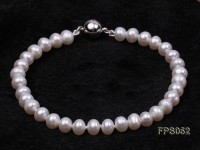 5-6mm AA White Flat Freshwater Pearl Necklace and Bracelet Set