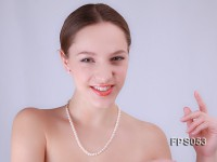 5-6mm AA White Flat Freshwater Pearl Necklace and Stud Earrings Set