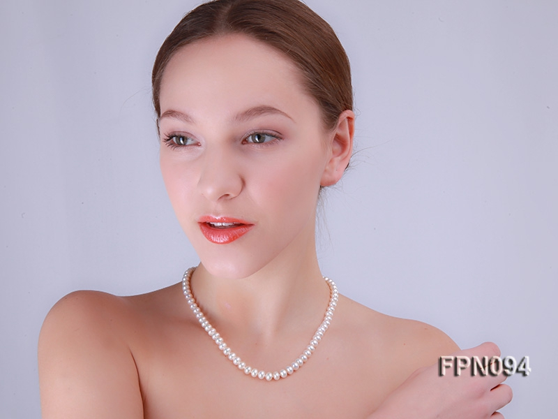 Classic 5-6mm AA White Flat Cultured Freshwater Pearl Necklace