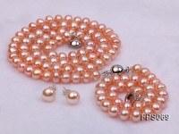 6-7mm AA Pink Flat Freshwater Pearl Necklace, Bracelet and Stud Earrings Set