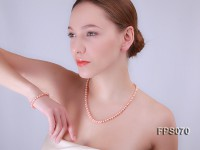 6-7mm AA Pink Flat Freshwater Pearl Necklace and Bracelet Set