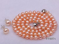 6-7mm AA Pink Flat Freshwater Pearl Necklace and Stud Earrings Set