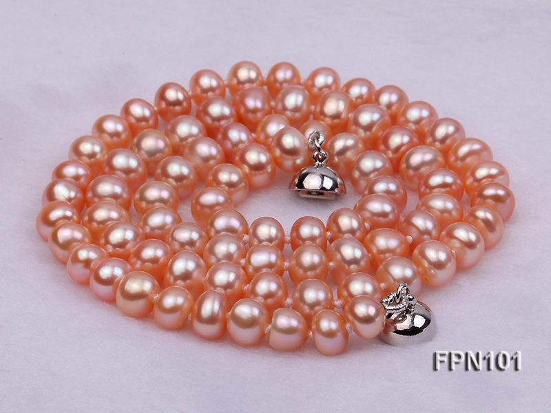 Classic 6-7mm AA Pink Flat Cultured Freshwater Pearl Necklace
