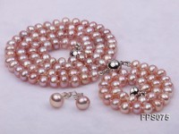 6-7mm AA Lavender Flat Freshwater Pearl Necklace, Bracelet and Stud Earrings Set