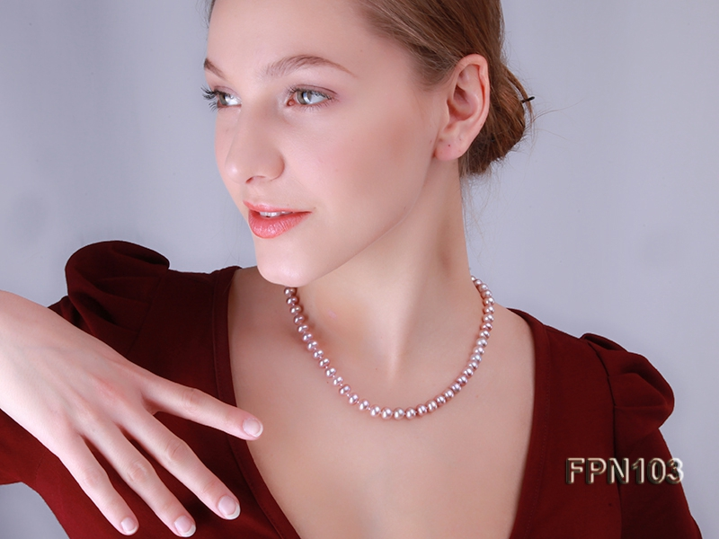 Classic 6-7mm AA Lavender Flat Cultured Freshwater Pearl Necklace