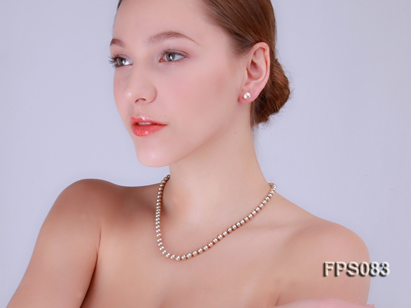 7-8mm AA Champagne Flat Freshwater Pearl Necklace and Stud Earrings Set