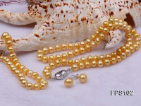 7-8mm AA Golden Flat Freshwater Pearl Necklace, Bracelet and Stud Earrings Set