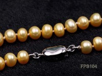 7-8mm AA Golden Flat Freshwater Pearl Necklace and Stud Earrings Set