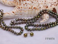 6-7mm AA Peacock Green Flat Freshwater Pearl Necklace, Bracelet and Stud Earrings Set