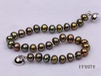 6-7mm AA Peacock Green Flat Freshwater Pearl Necklace and Bracelet Set