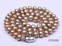 Classic 7-8mm AA Lavender Flat Cultured Freshwater Pearl Necklace