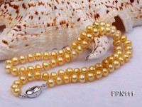 Classic 7-8mm AA Golden Flat Cultured Freshwater Pearl Necklace