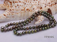 Classic 6-7mm AA Peacock Green Flat Cultured Freshwater Pearl Necklace