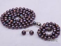 6-7mm AA Dark-purple Flat Freshwater Pearl Necklace, Bracelet and Stud Earrings Set