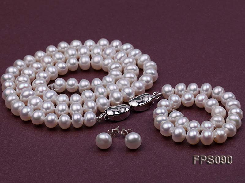 7-8mm AA White Flat Freshwater Pearl Necklace, Bracelet and Stud Earrings Set