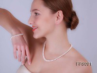 7-8mm AA White Flat Freshwater Pearl Necklace and Bracelet Set