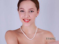 7-8mm AA White Flat Freshwater Pearl Necklace and Stud Earrings Set