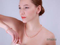 7-8mm AA Pink Flat Freshwater Pearl Necklace, Bracelet and Stud Earrings Set