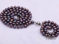 6-7mm AA Dark-purple Flat Freshwater Pearl Necklace and Bracelet Set