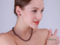 6-7mm AA Dark-purple Flat Freshwater Pearl Necklace and Stud Earrings Set