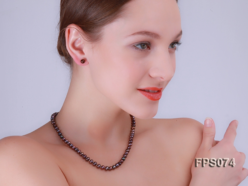 6-7mm AA Dark-purple Flat Freshwater Pearl Necklace and Stud Earrings Set
