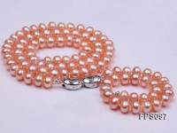 7-8mm AA Pink Flat Freshwater Pearl Necklace and Bracelet Set
